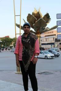 Me by the golden Lotus Flower monument, Setif. Algerian Ministry of Tourism SITEV 2013